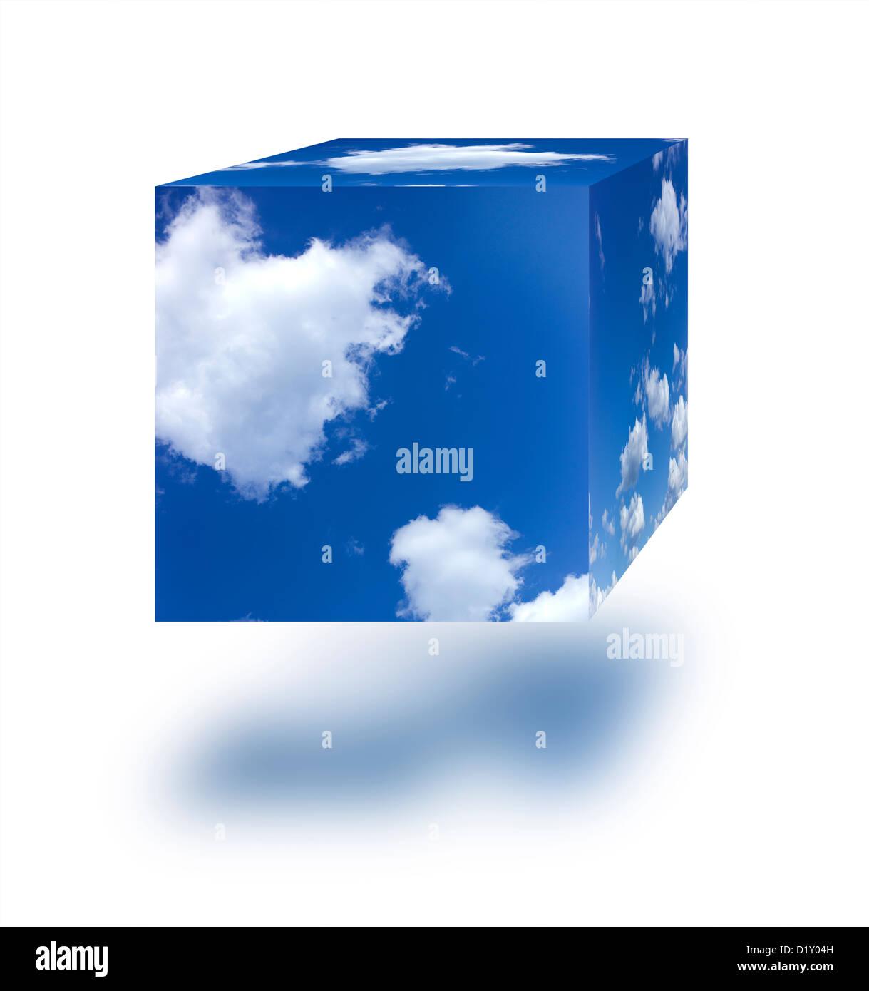 Cube ciel sur un fond blanc. Photo Stock