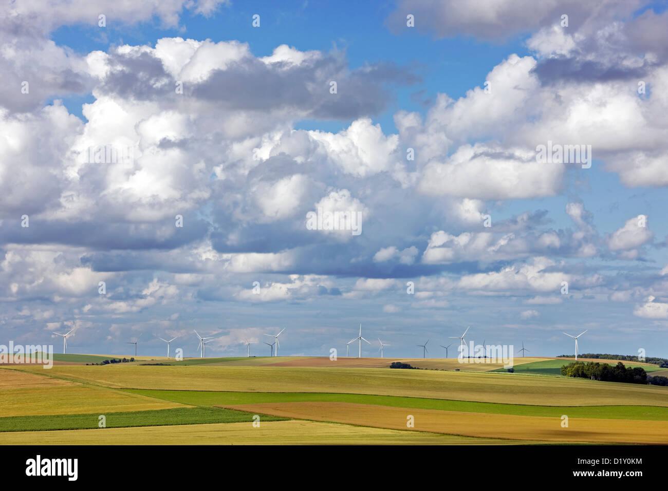 Paysage rural et les éoliennes de vent entre des champs agricoles Photo Stock