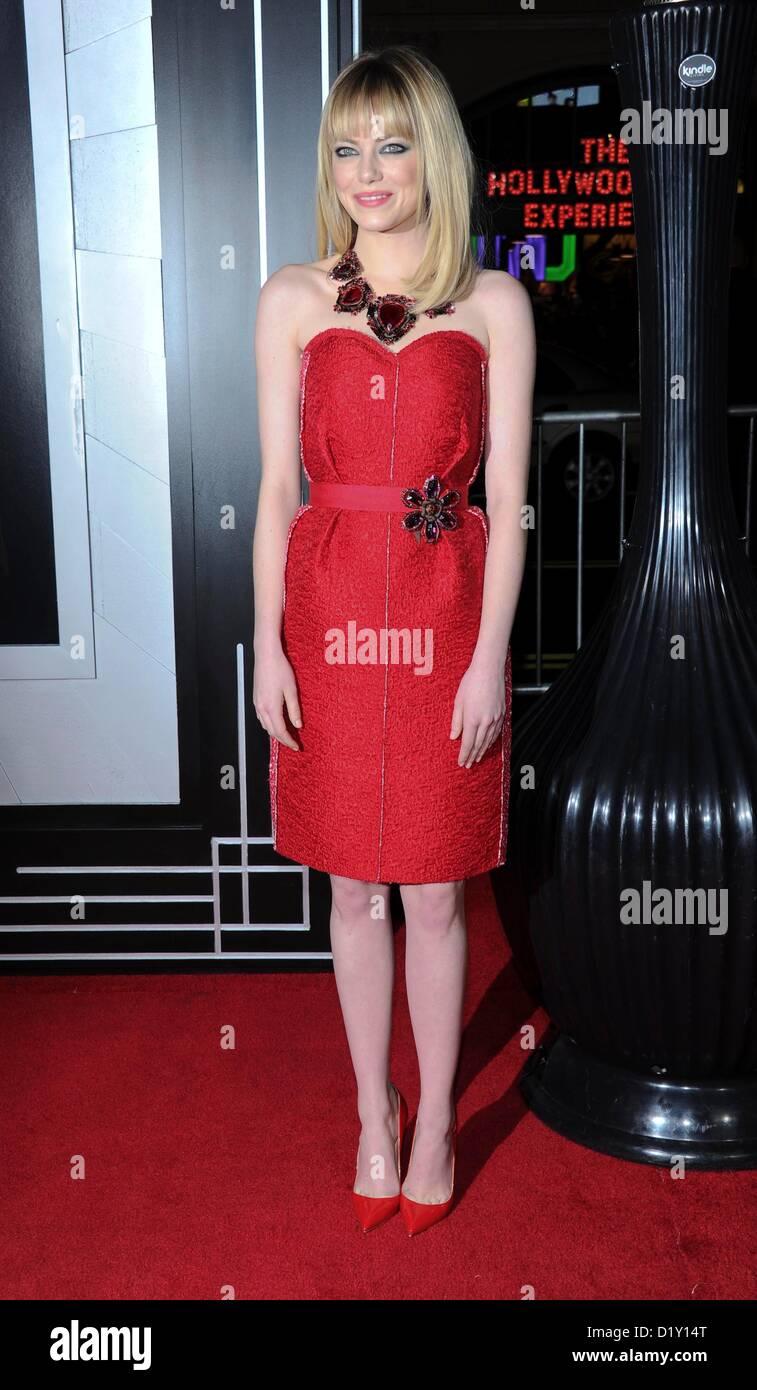 L'actrice Emma Stone arrive à la première du film de Gangster Squad' 'au Chinese Theatre à Photo Stock