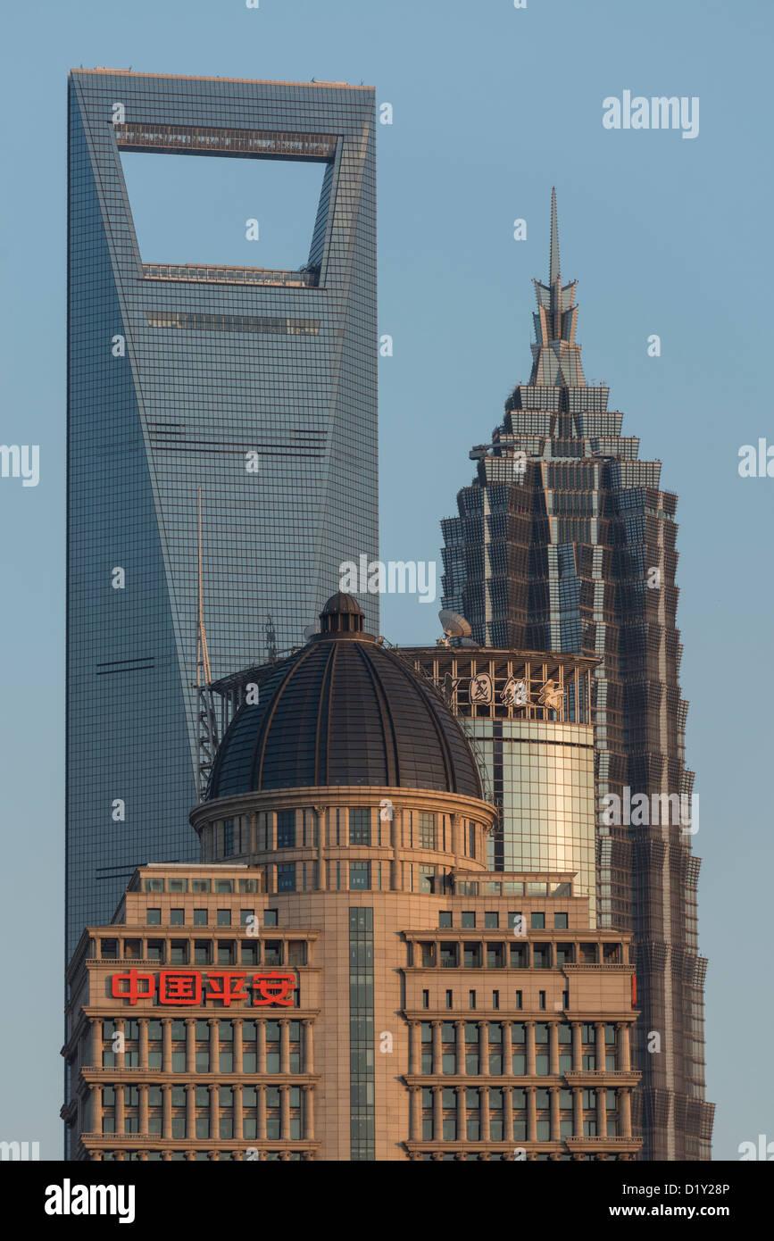 Centre mondial des finances de Shanghai, tour Jin Mao et Ping'an, Immeuble des Finances, Pudong, Shanghai Photo Stock