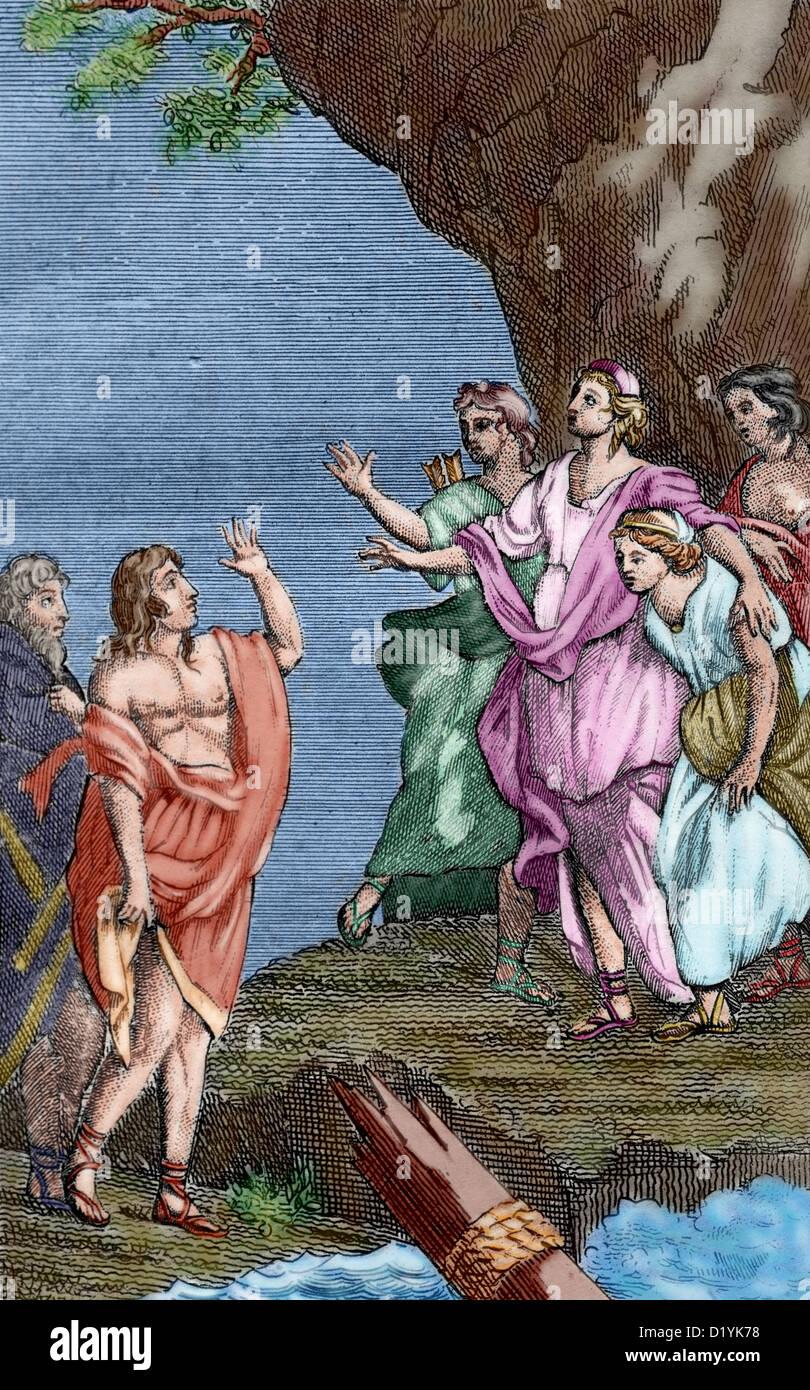 François fenelon (1651-1715). Les aventures de Télémaque, 1699. télémaque avec minerva Photo Stock