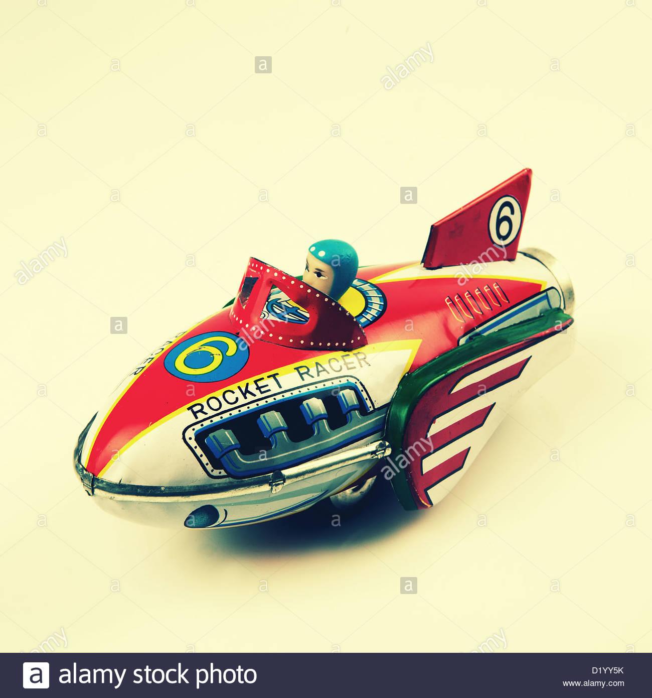 Plaque étain rocket racer toy Photo Stock