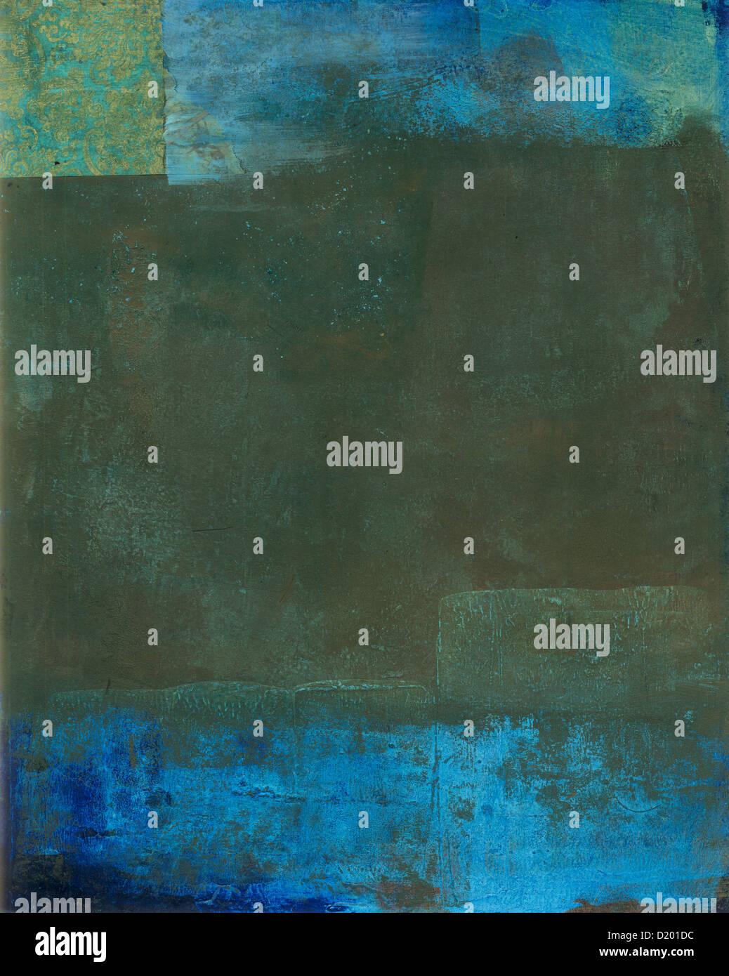 La peinture abstraite de texture bleu et vert avec des tons de terre. Photo Stock