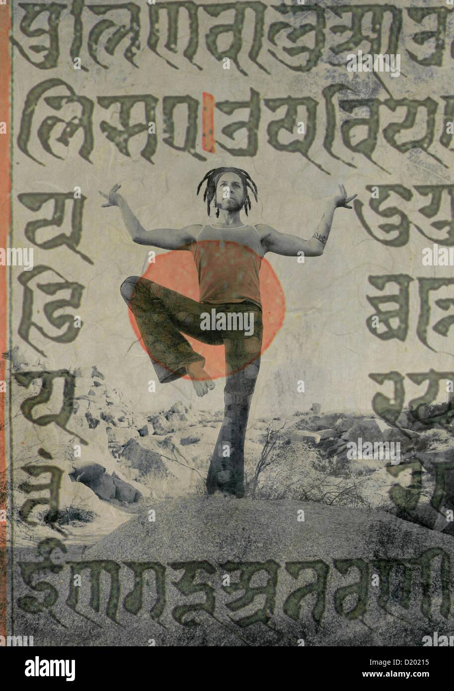 Yogi Shiva dancer avec les anciens écrits sacrés sanskrit superposées. Photo Stock