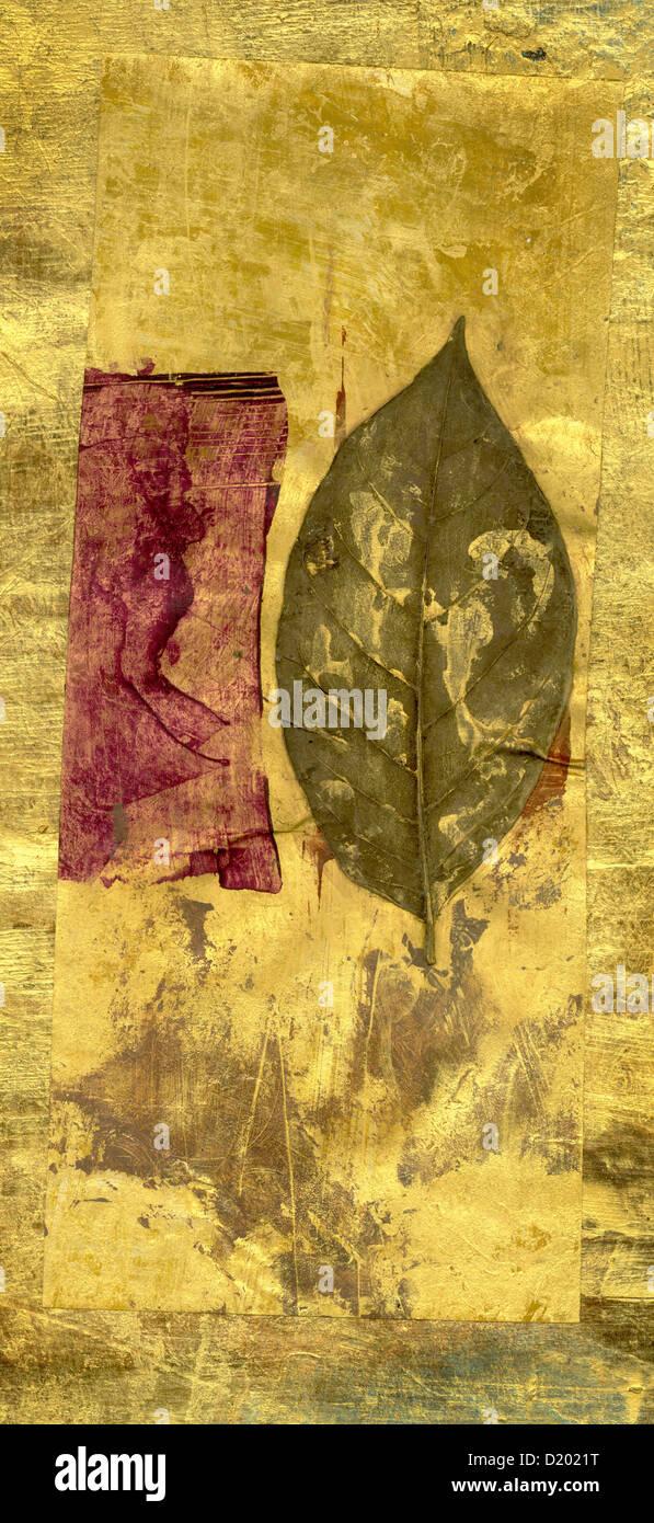 Collage des feuilles peintes avec rectangle marron. Photo Stock