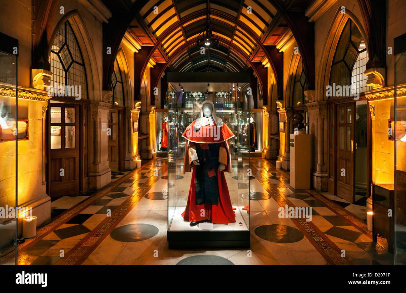 Musée de robes et perruques juridique, Royal Courts of Justice, Londres, Angleterre, Grande-Bretagne Photo Stock