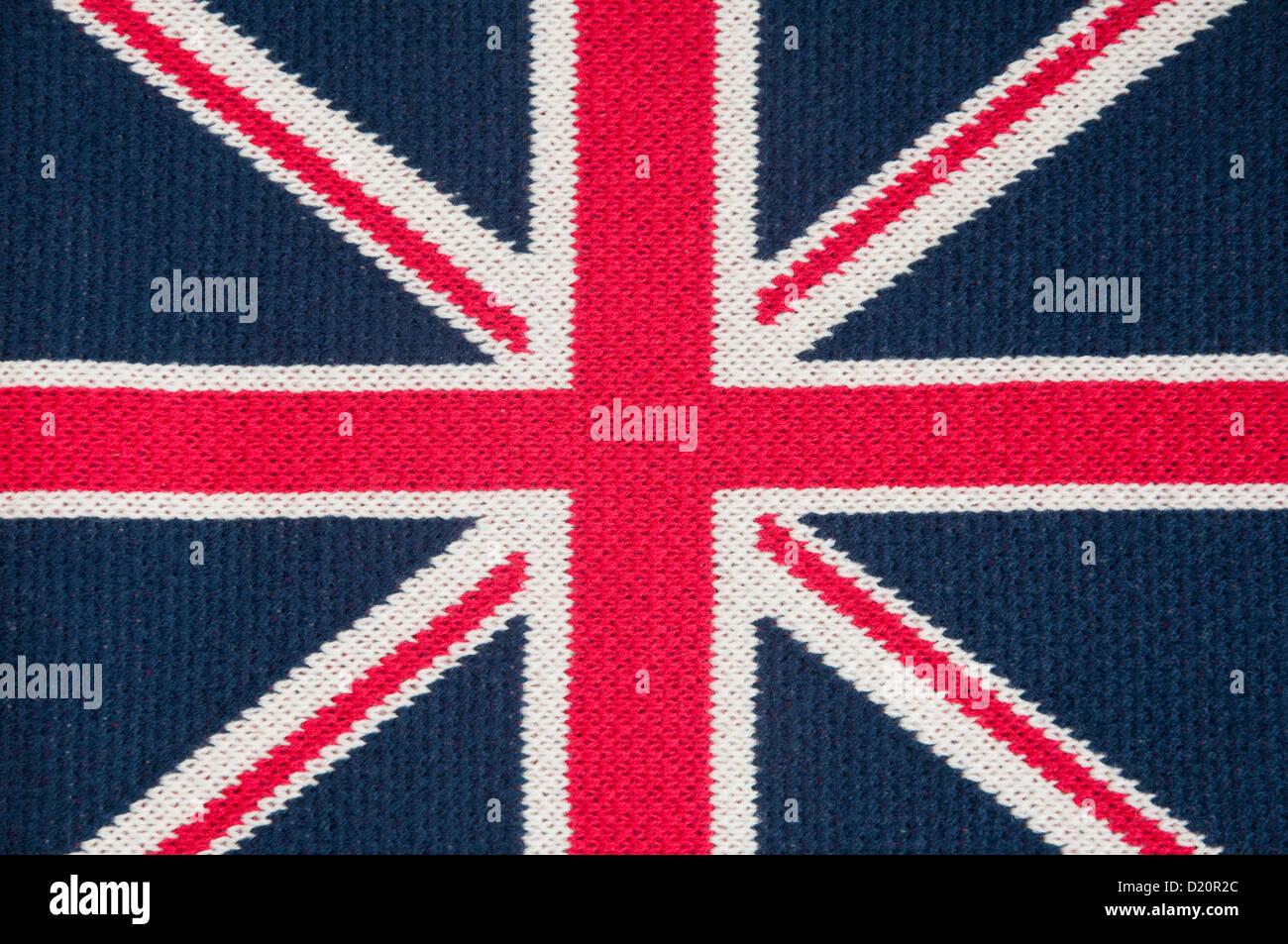 / Union Jack flag - Foulard en laine tricoté machine. Photo Stock