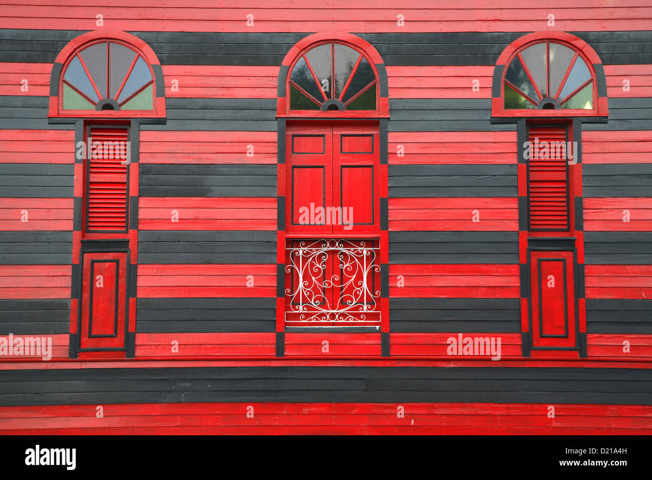 Windows, Parque de Bombas/Firehouse (1883), Ponce, Puerto Rico Photo Stock
