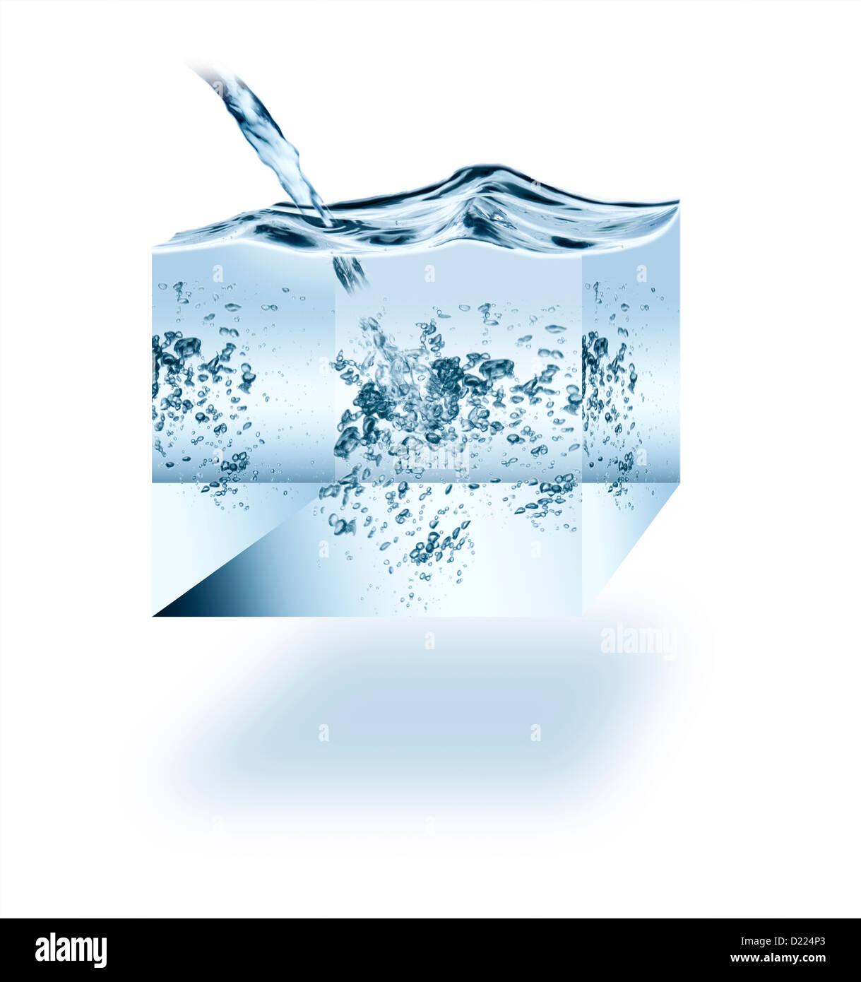 Cube d'eau sur un fond blanc. Banque D'Images