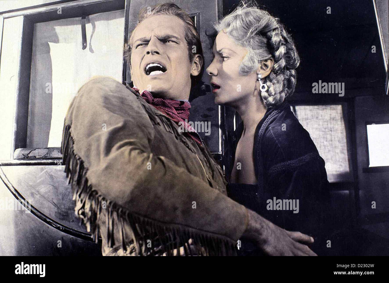 Die Eclaireur Pony Express Charlton Heston, Rhonda Fleming Buffalo Bill Cody (Charlton Heston) eine Pony Express Photo Stock