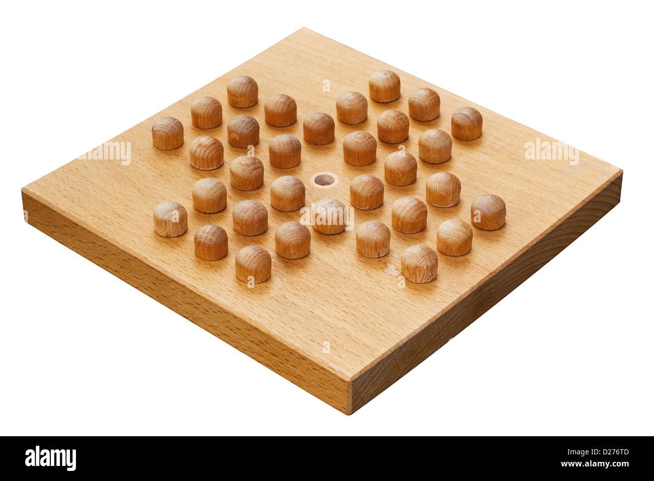 Carte solitaire de la cheville en bois fabriqué à partir d'un intérieur en bois populaires puzzle Photo Stock