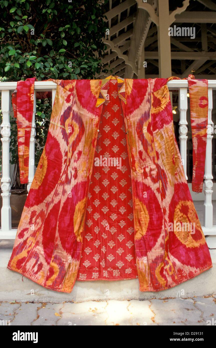 La Thaïlande. Bangkok. Robe. Textile de l'Afghanistan. Photo Stock