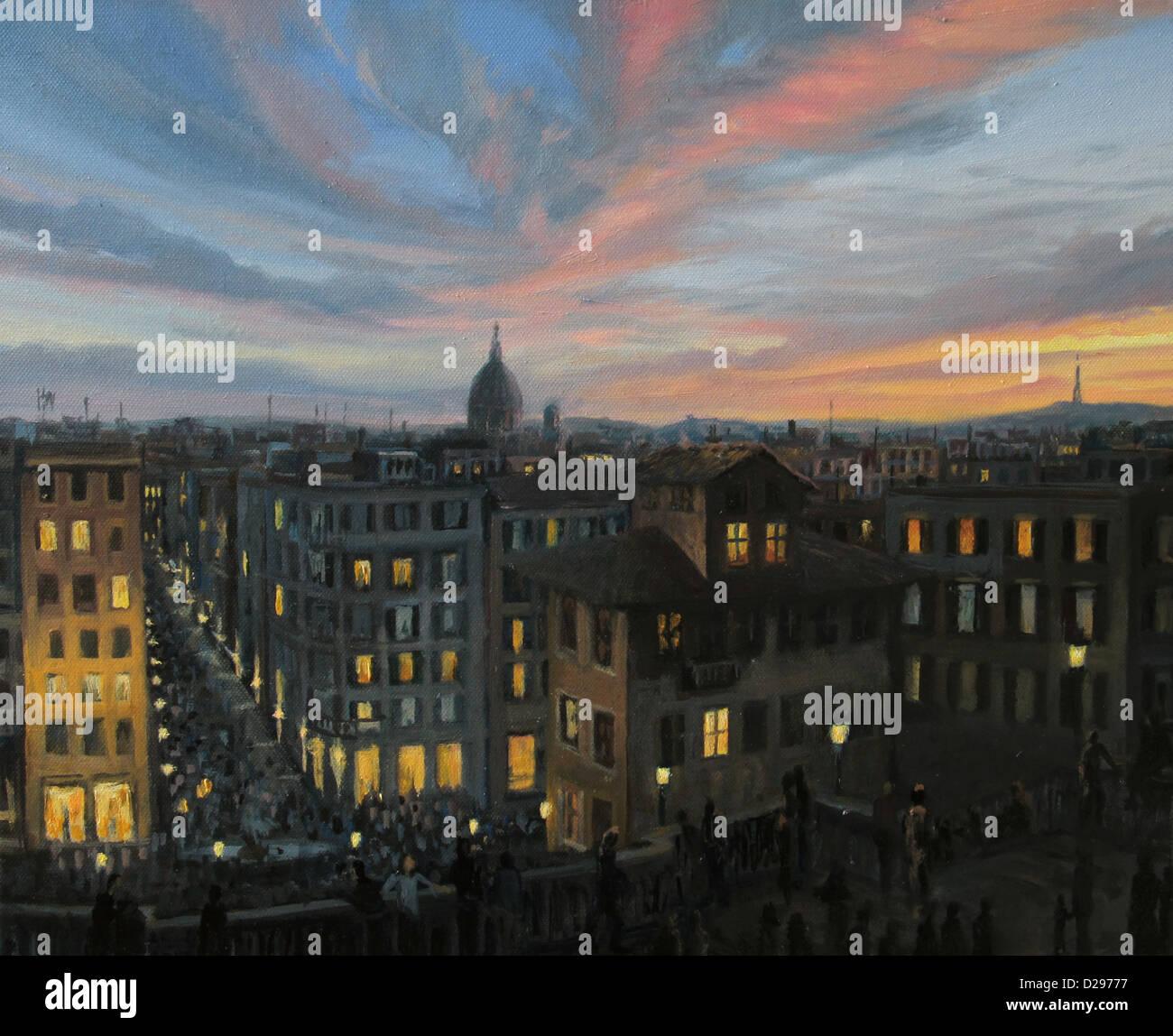 Une peinture à l'huile sur toile d'une vue panoramique sur le coucher du soleil de la capitale de l'Italie, Photo Stock