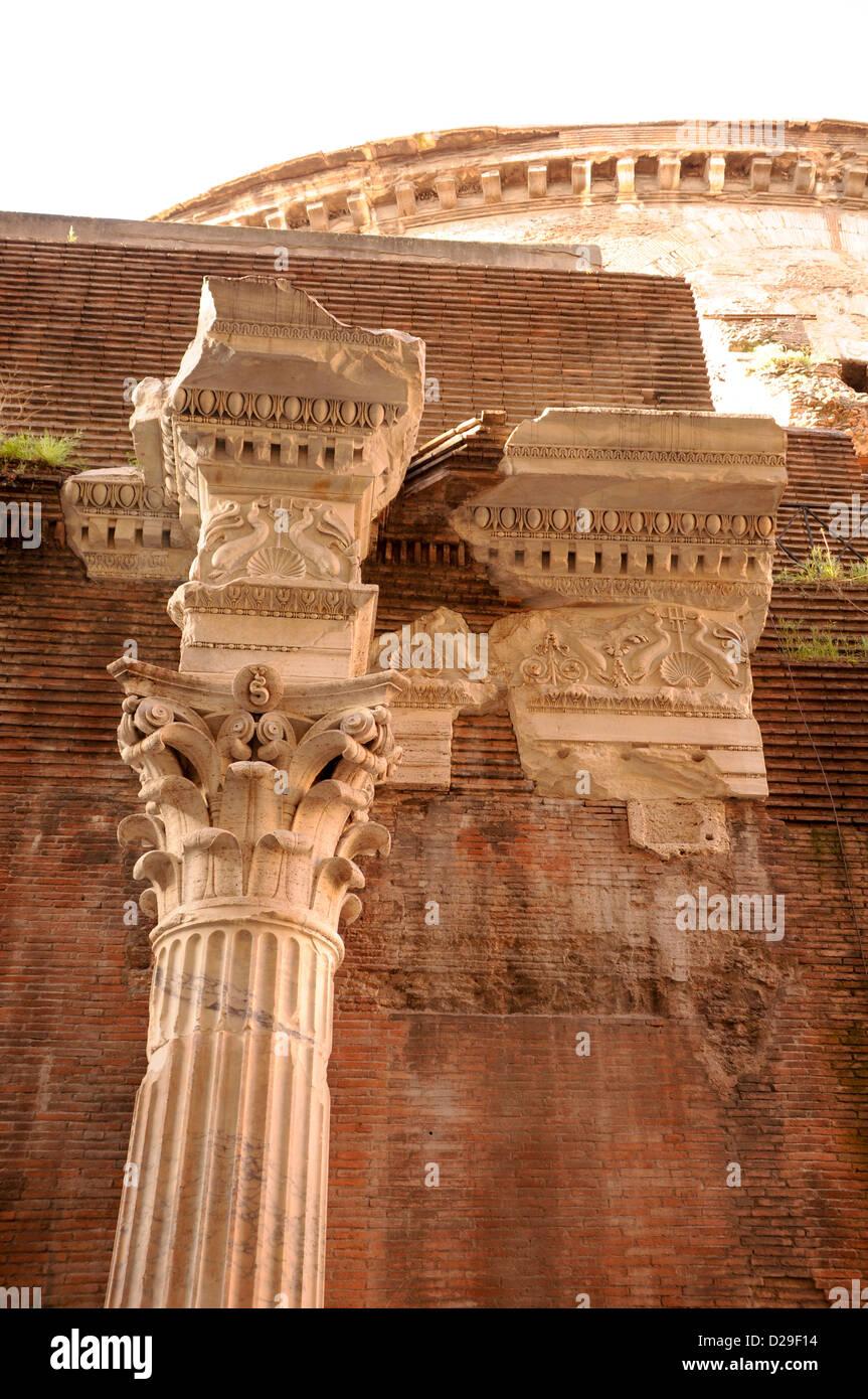 La colonne d'origine du Panthéon, Rome Photo Stock