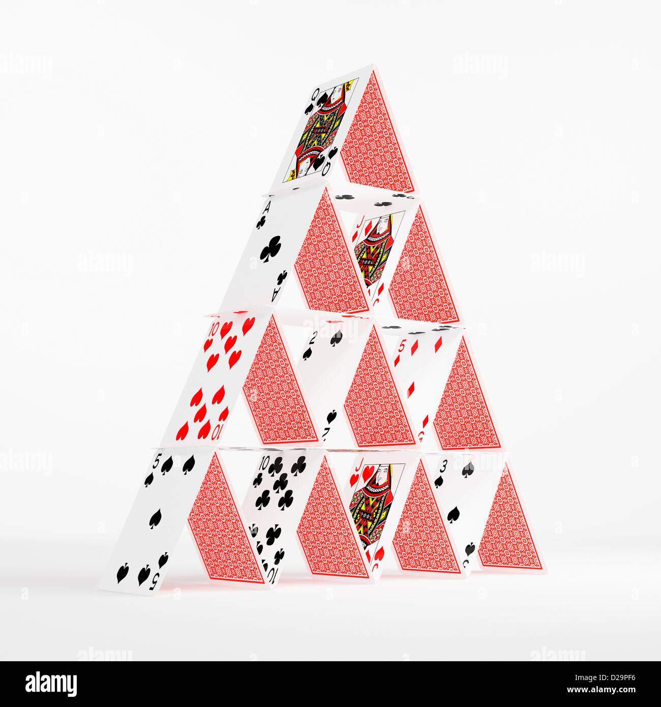 Château de cartes pyramid Photo Stock