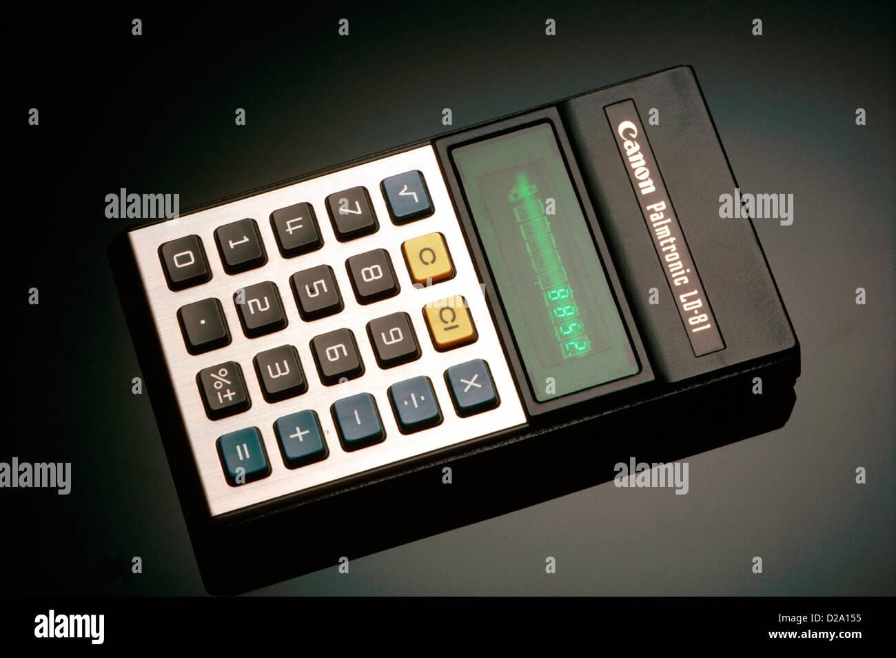 Calculatrice électronique CIRCA. 1985 Photo Stock