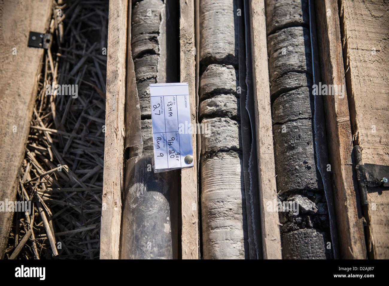 Des échantillons de carottes de forage à coal mine Photo Stock