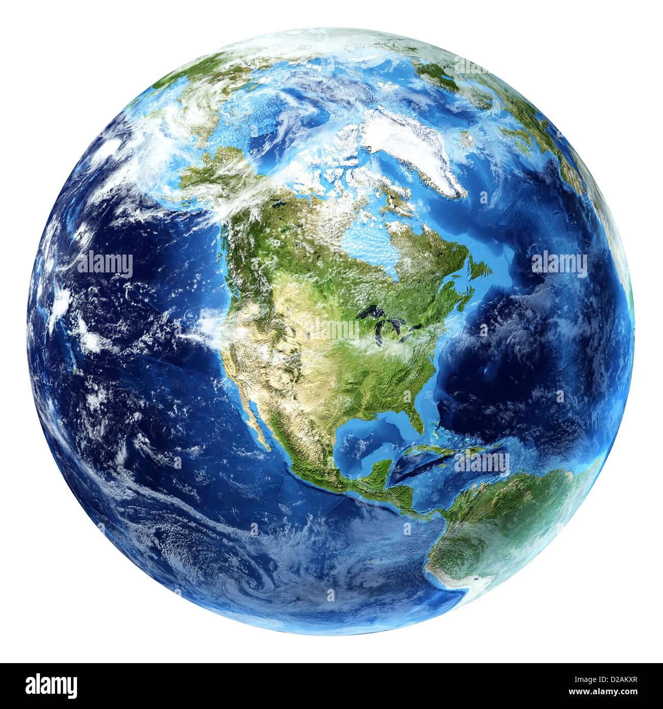 La planète terre avec quelques nuages. Voir l'Amérique du Nord. Photo Stock