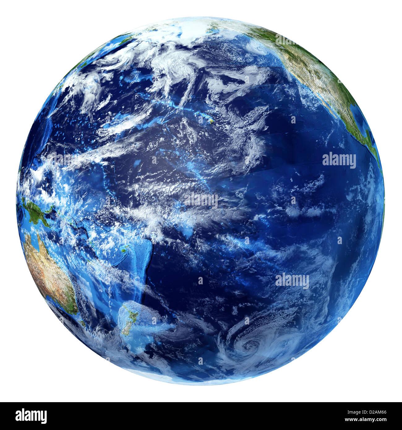 La planète terre avec quelques nuages. Vue sur l'océan Pacifique. Sur fond blanc. Photo Stock