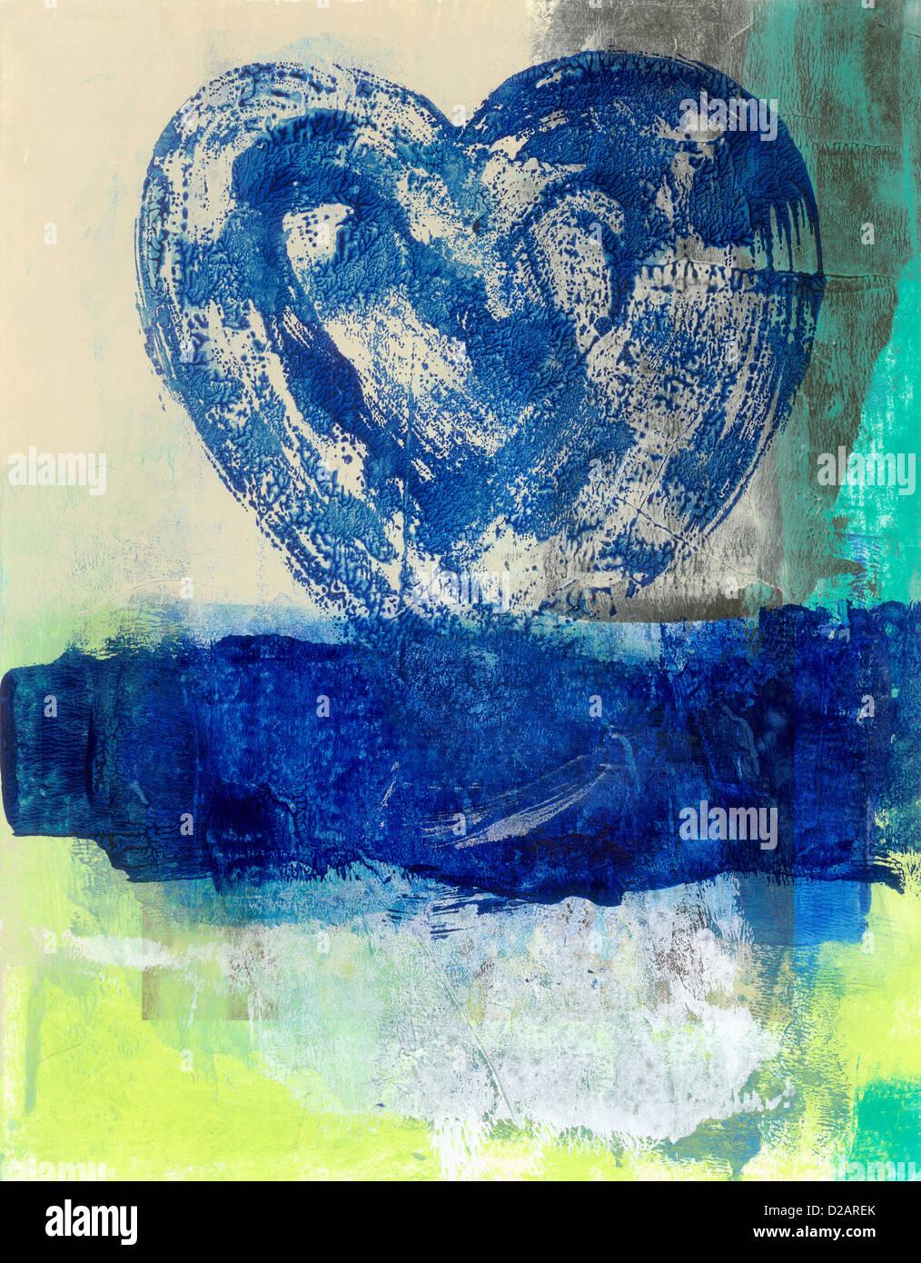La peinture abstraite d'un coeur bleu passant d'une eau bleue.Banque D'Images