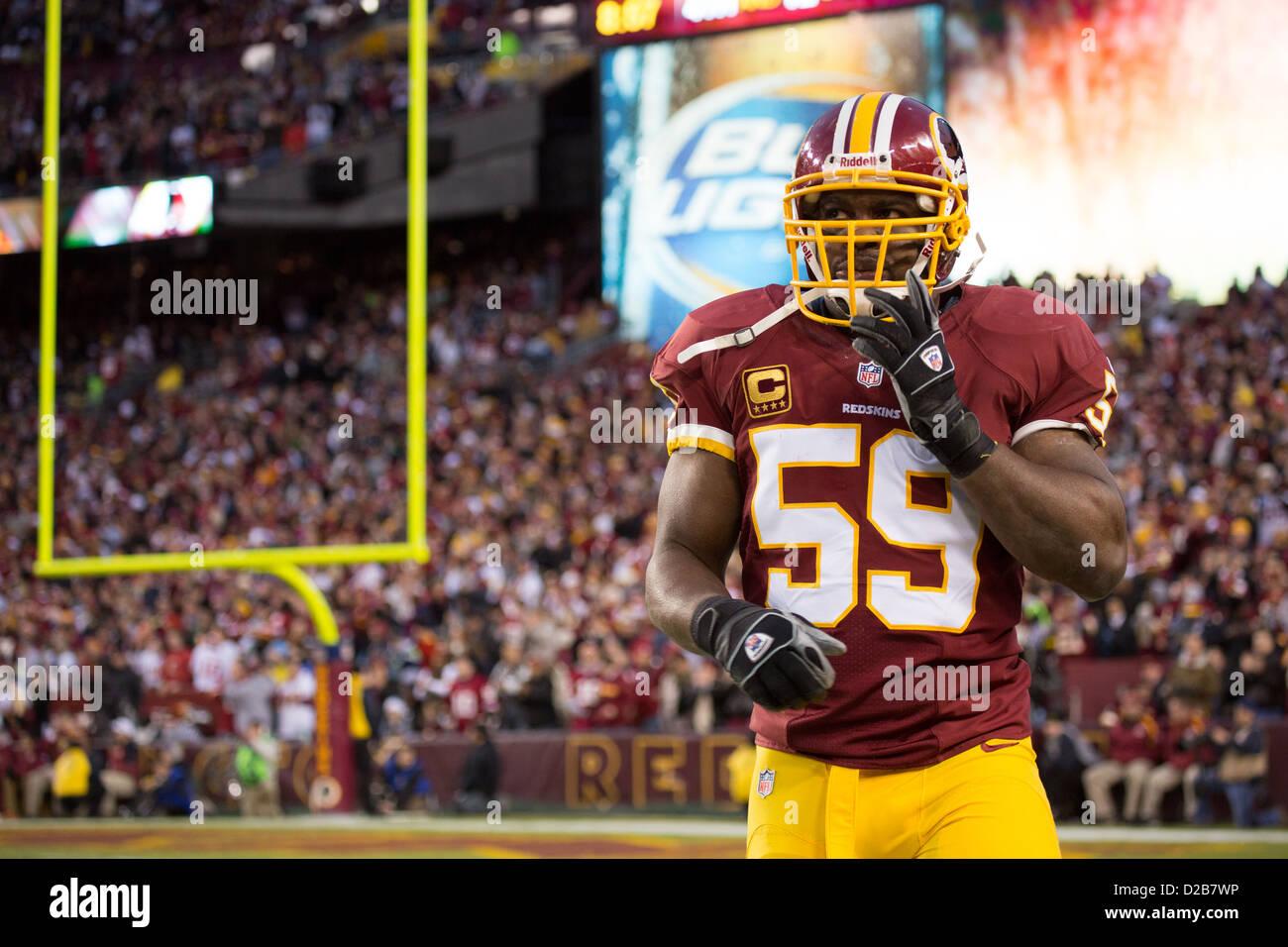 6 janvier 2013, Washington Redskins, London Fletcher (59) promenades hors de la ligne de touche après arrêt Photo Stock