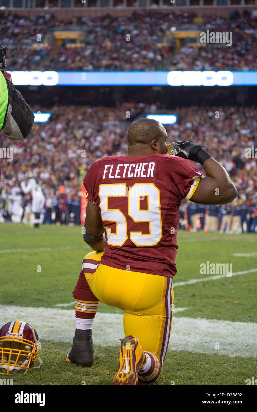 6 janvier 2013, Washington Redskins, London Fletcher (59) se trouve sur la ligne de côté en regardant l'infraction Banque D'Images