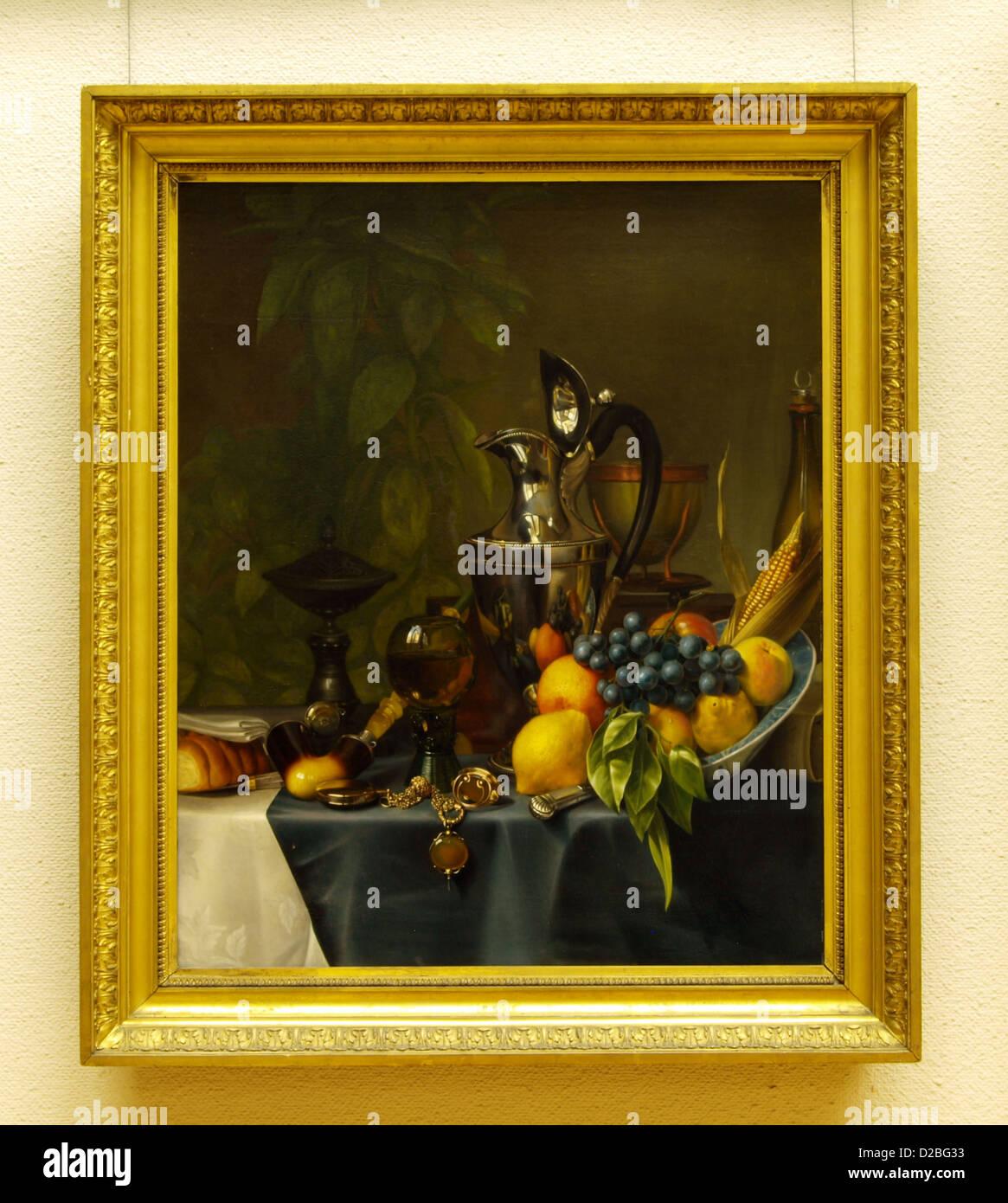 Peter Kiers, metschenkkan et fruits nature morte, 1830, huile sur toile Photo Stock