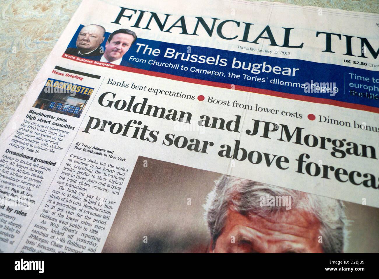 Financial Times newspaper headlines Goldman Sachs et JP Morgan 'Profits  Soar' London England UK Photo Stock - Alamy