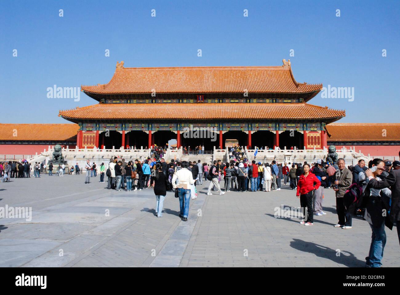 Porte de l'harmonie suprême, la Cité Interdite, Pékin, Chine Photo Stock