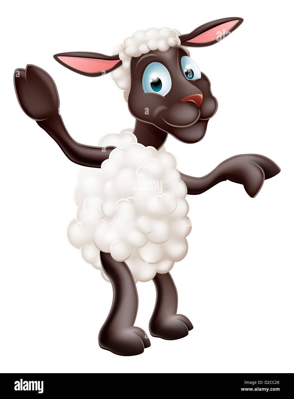 Illustration D Un Mignon Petit Mouton Ou D Agneau Ou De Personnages De Dessins Animes Montrant La Mascotte Photo Stock Alamy