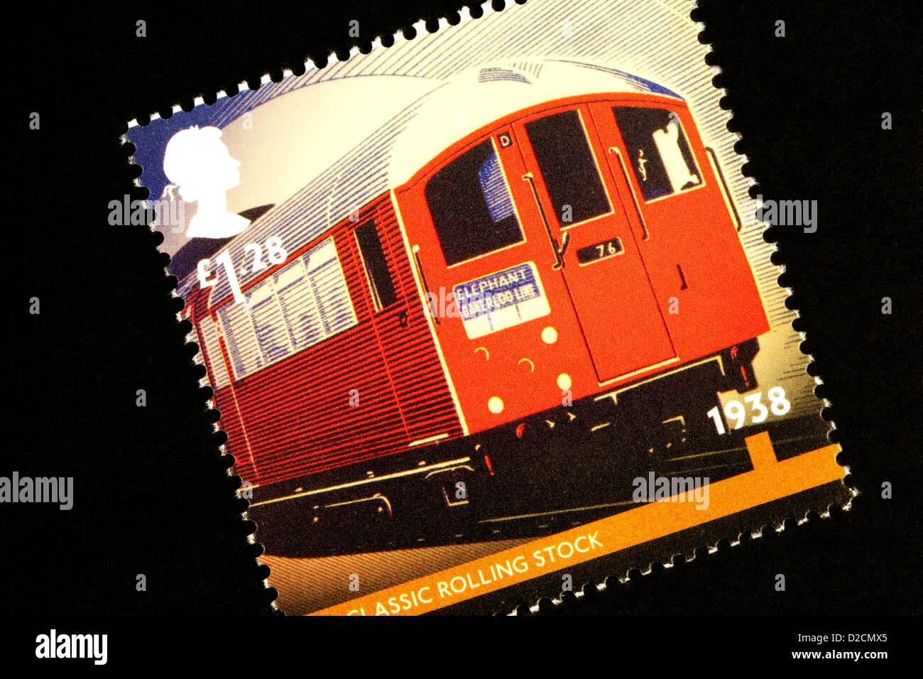 Un timbre commémoratif pour le 150e anniversaire du métro de Londres, UK publié en janvier 2013 Photo Stock