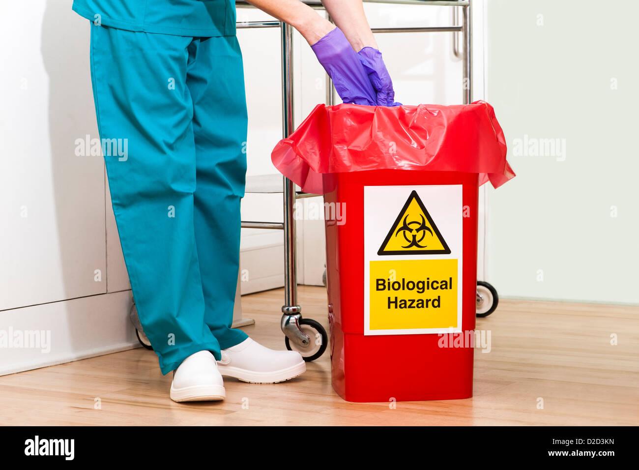 Élimination des déchets cliniques PARUTION DU MODÈLE Banque D'Images
