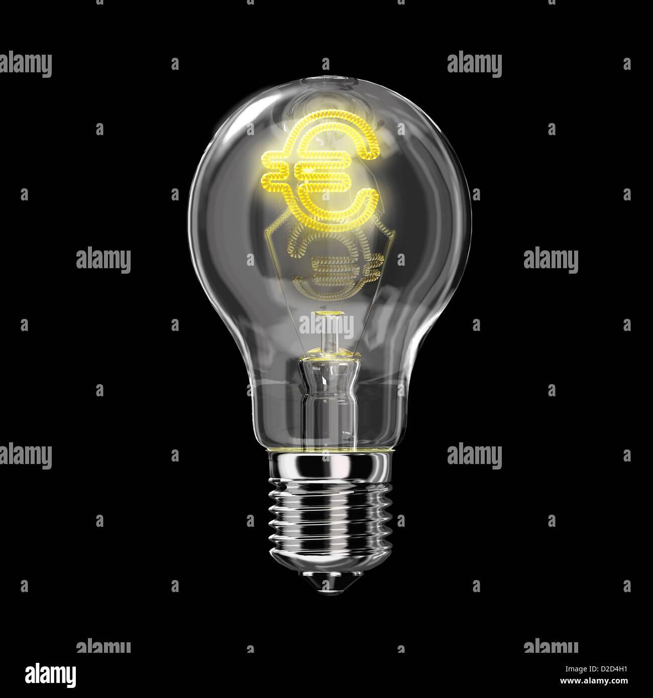 Les coûts de l'énergie de l'oeuvre d'ordinateur conceptuel Photo Stock
