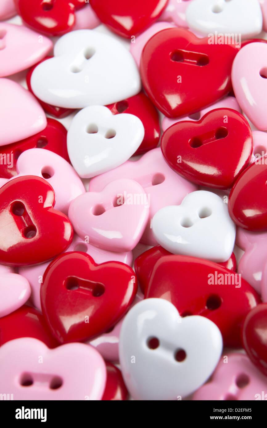 Vue de dessus de boutons en forme de coeur Photo Stock