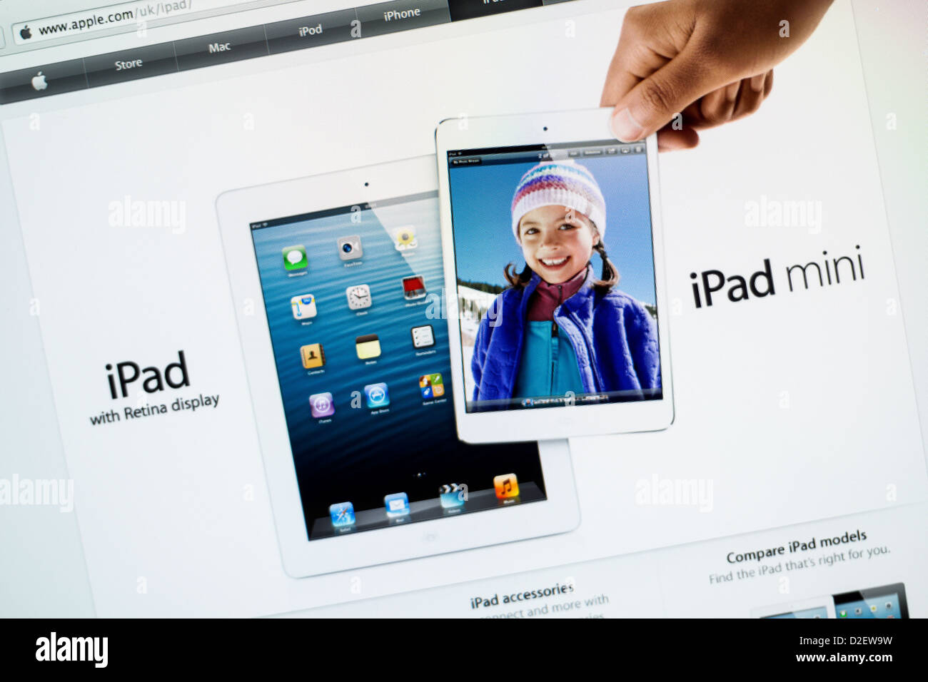 Apple iPad Mini site close up Photo Stock
