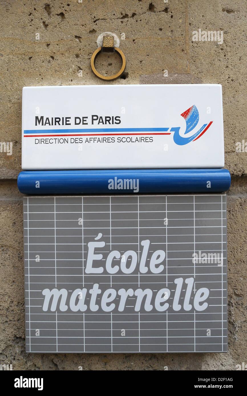 L'école maternelle inscrivez-Paris. La France. Banque D'Images