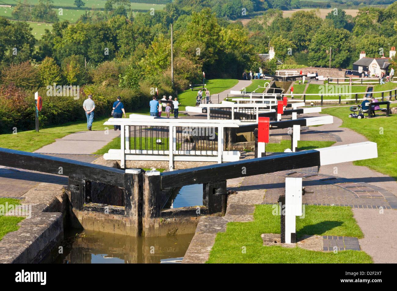 Vol historique de verrous à Foxton locks sur le Grand Union canal Leicestershire Angleterre UK GB EU Europe Banque D'Images