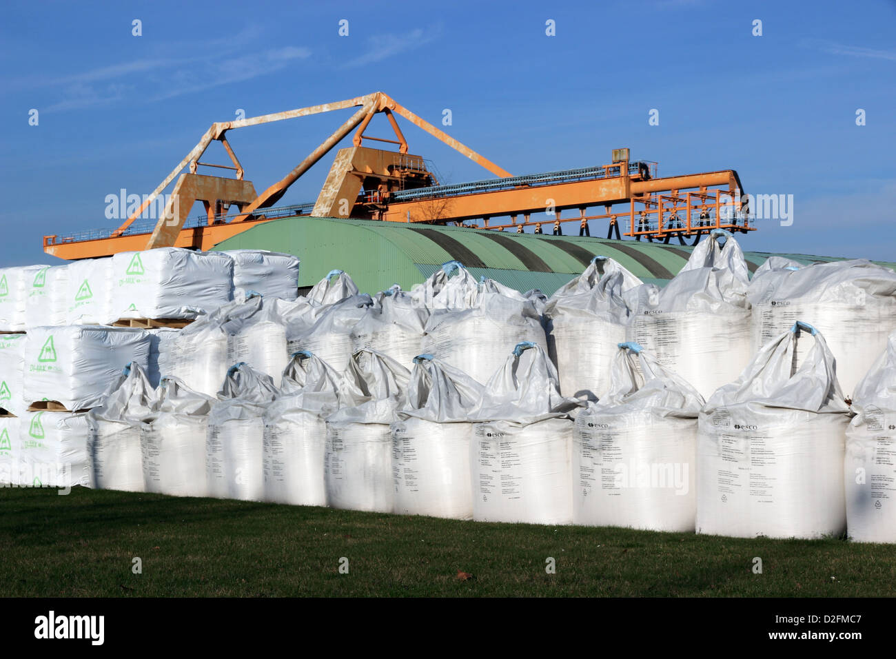 Grue d'entrepôt et sacs en vrac Photo Stock