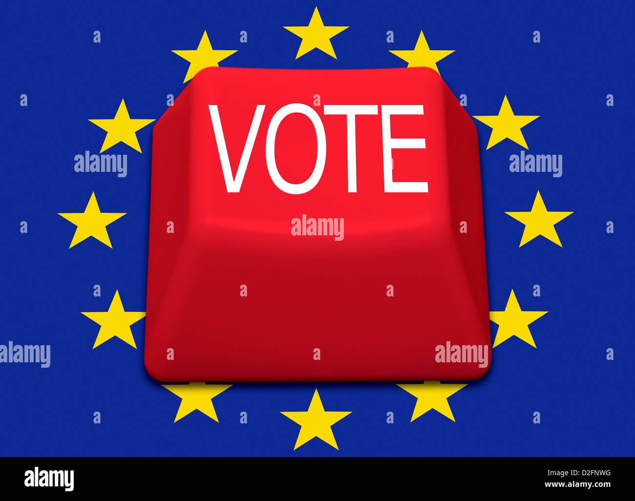 Ordinateur rouge isolé avec le mot clé Vote sur un drapeau de l'Union européenne contexte - Royaume Photo Stock