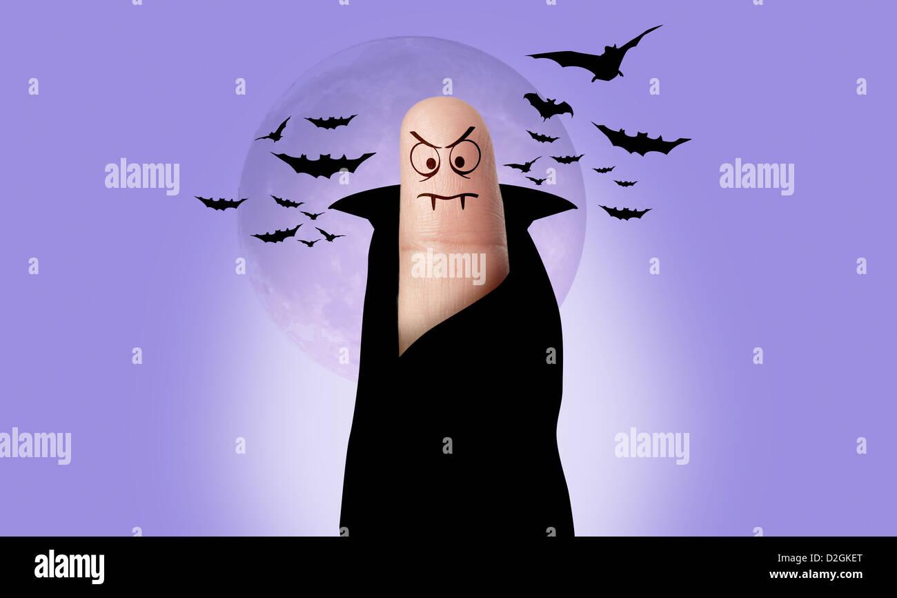 Un doigt s'habillent comme Dracula, pour l'Halloween Photo Stock