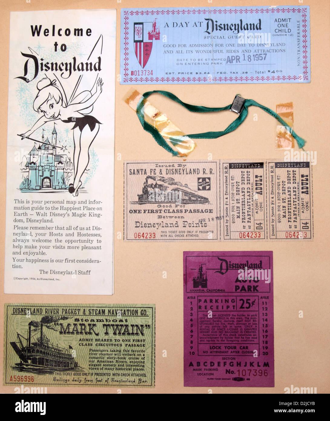 Disneyland page d'album à partir de 1957 Photo Stock