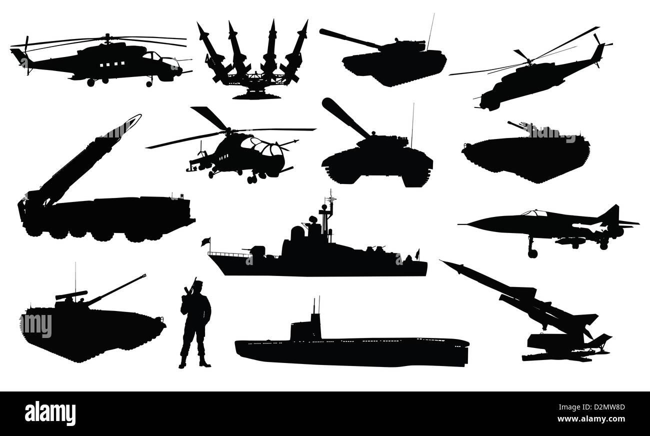 Jeu de silhouettes militaire Banque D'Images