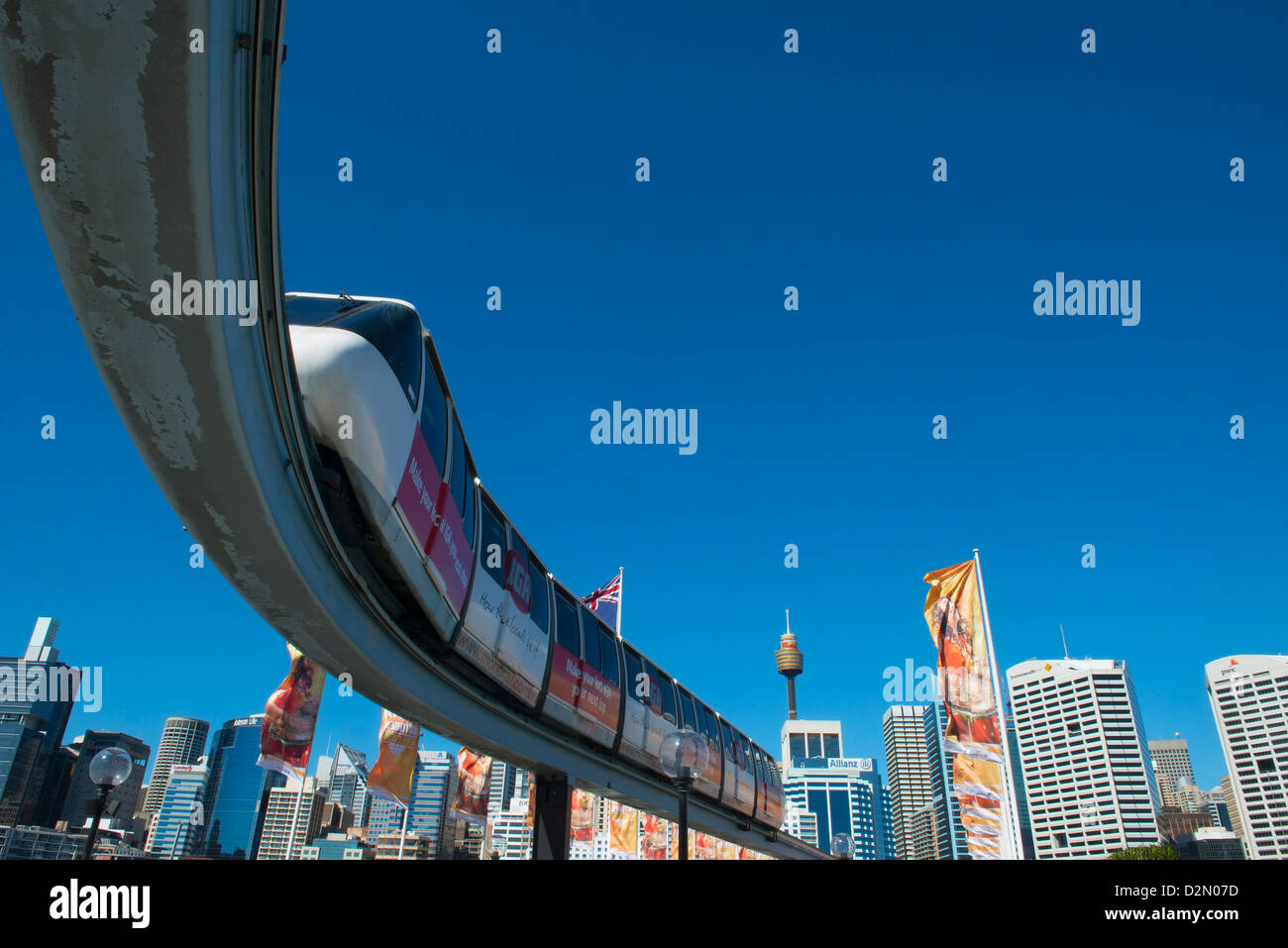 Monorail, Darling Harbour, Sydney, Nouvelle-Galles du Sud, Australie, Pacifique Photo Stock