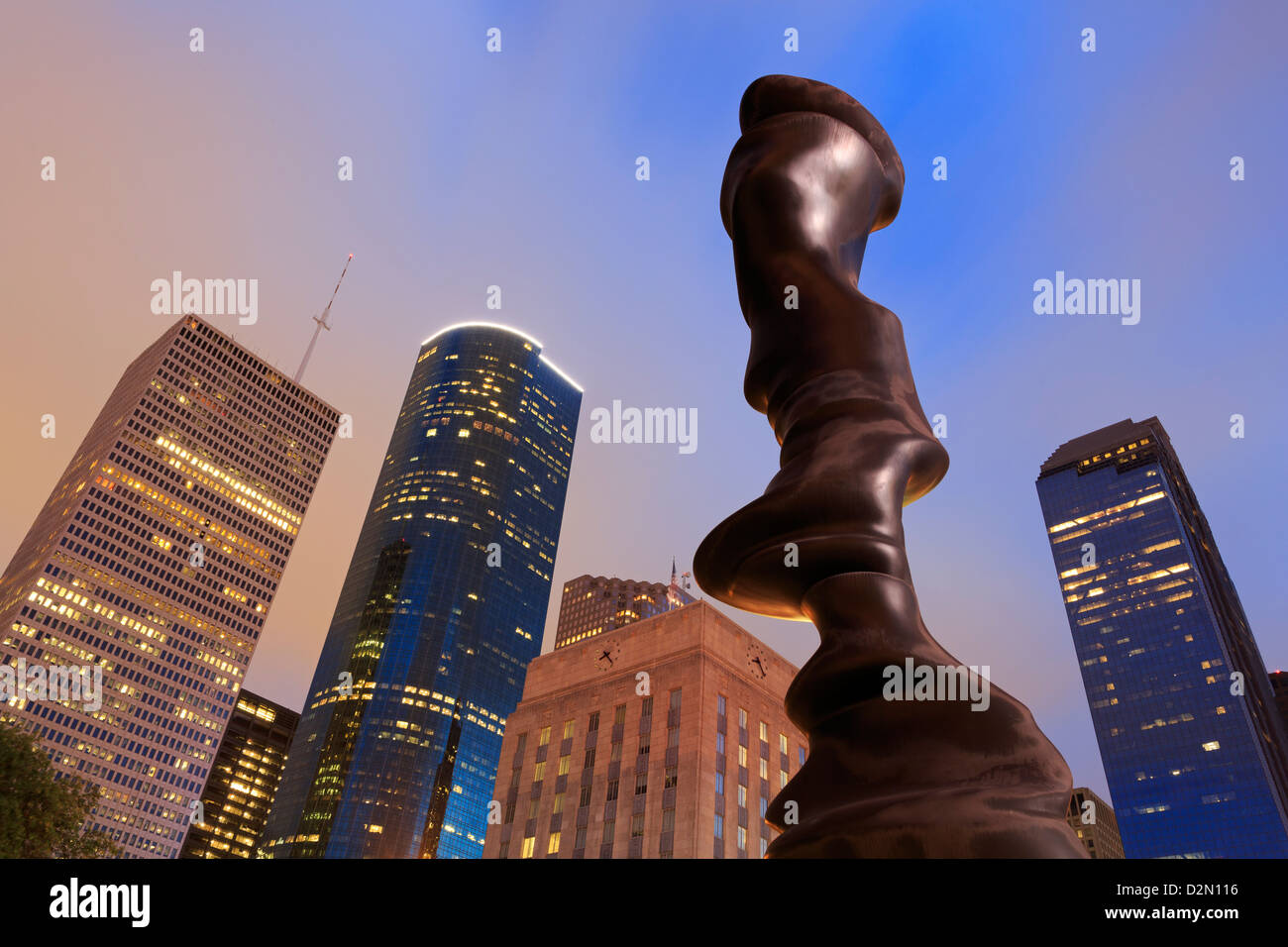 Dans l'esprit sculpture de Tony Cragg, Hobby Center for the Performing Arts, Houston, Texas, États-Unis Photo Stock