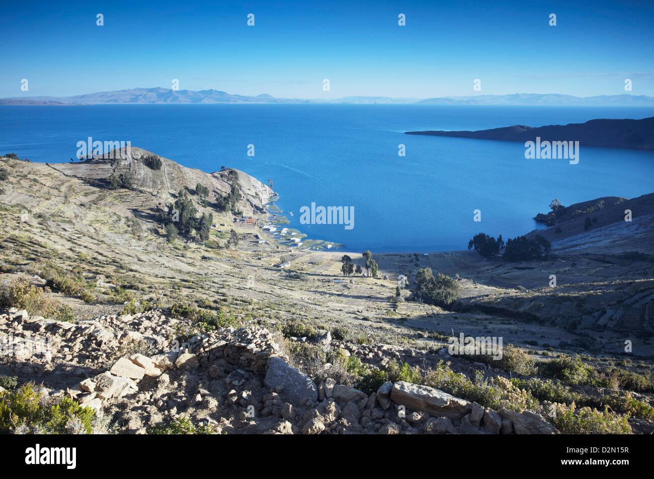 Isla del Sol (Île du Soleil), le Lac Titicaca, Bolivie, Amérique du Sud Photo Stock