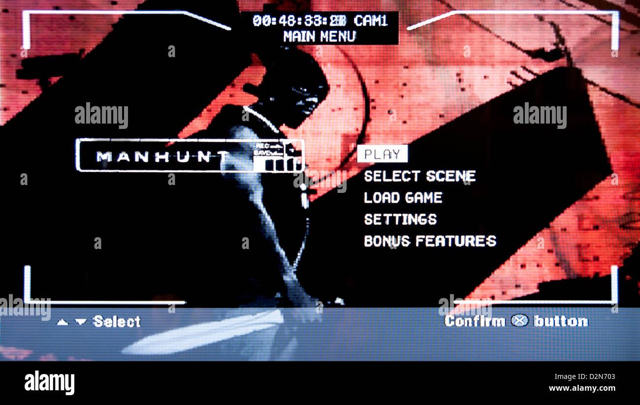 Chasse à l'horreur des jeux vidéo violents psychologique Photo Stock