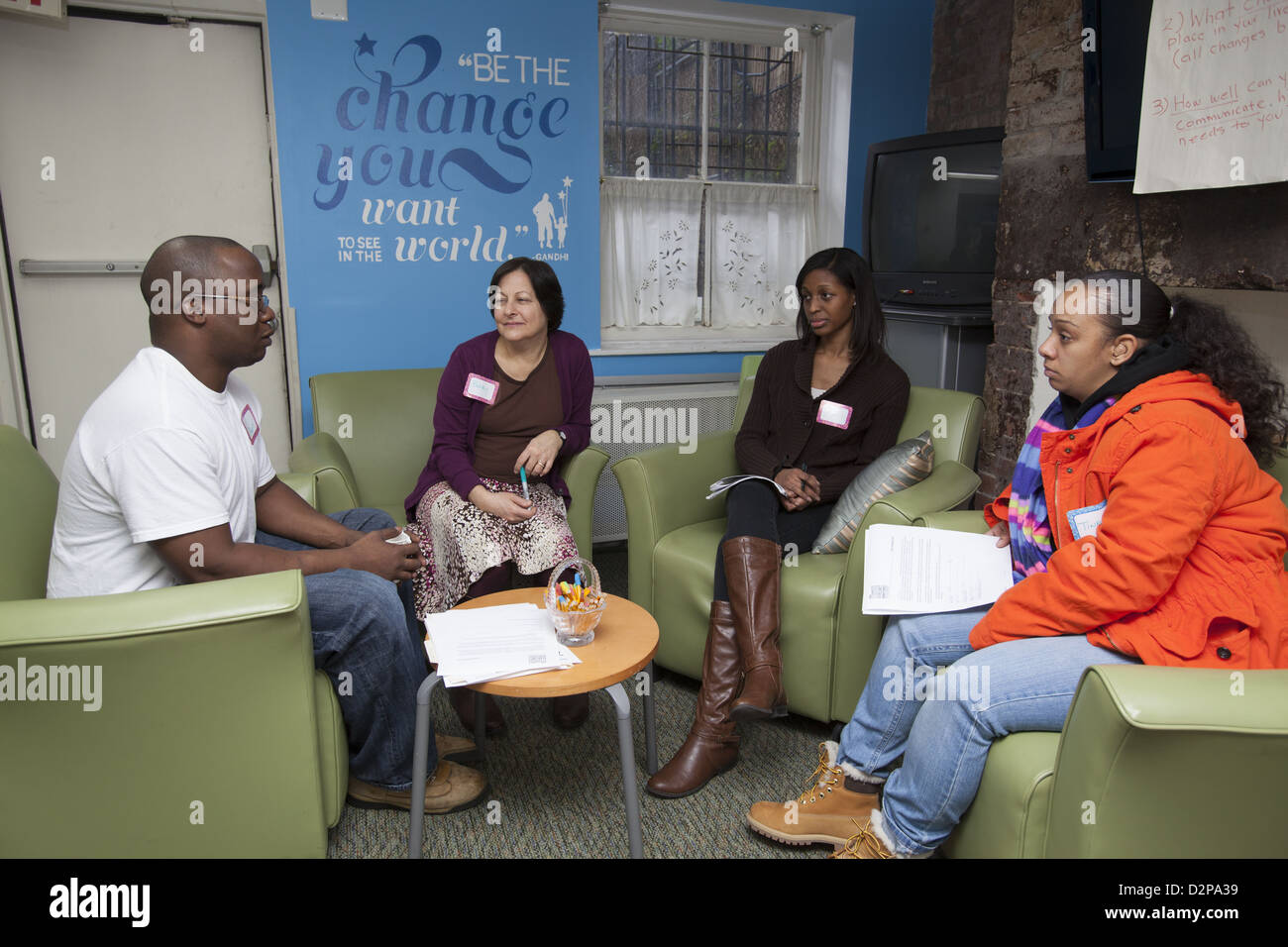 Les parents obtenir aide et assistance à un parent Centre sur le Lower East Side, Manhattan, NYC Photo Stock