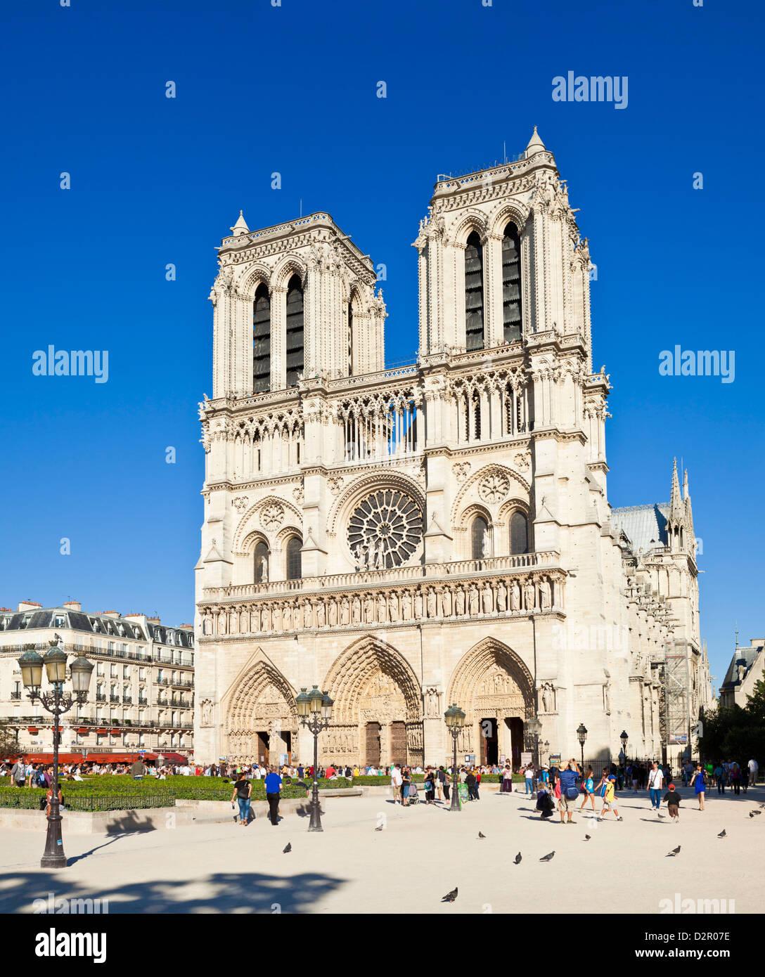 Façade de la Cathédrale Notre Dame, l'Ile de la Cité, Paris, France, Europe Photo Stock