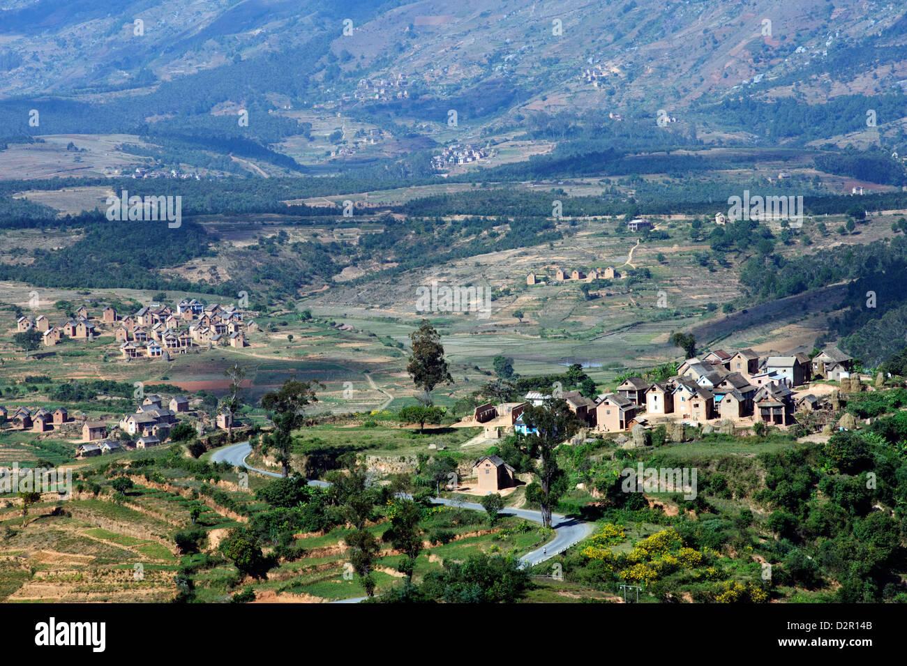 Paysage des hautes terres centrales de la région de l'Ankaratra, Madagascar, Afrique Photo Stock