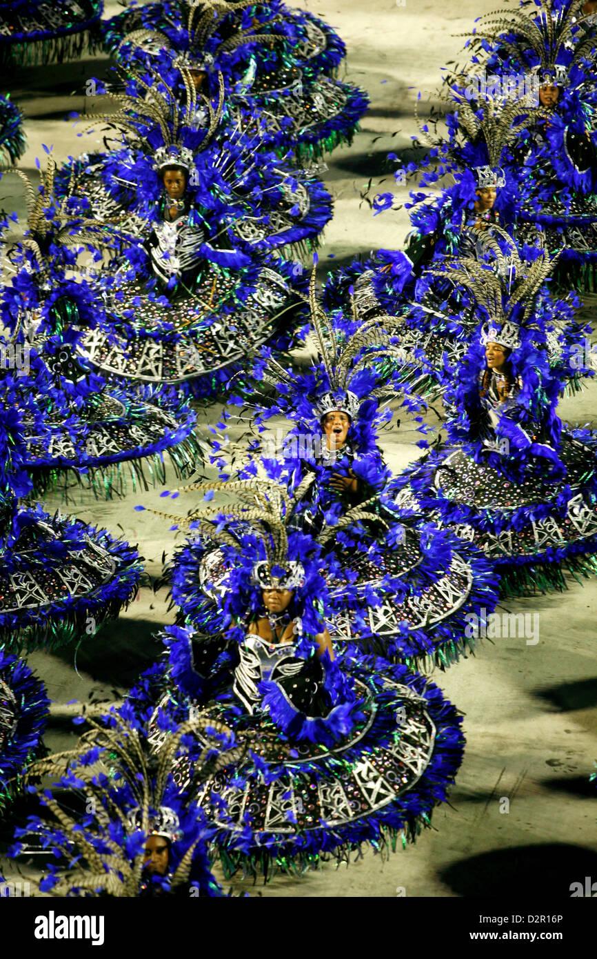 Défilé de carnaval à le Sambodrome, Rio de Janeiro, Brésil, Amérique du Sud Banque D'Images
